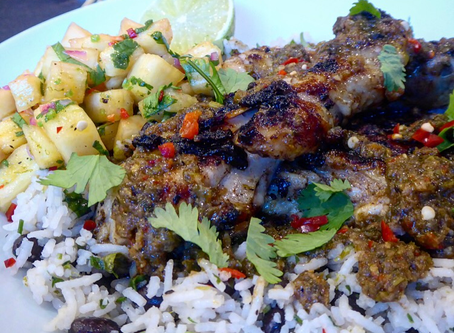 Jerk chicken, rice and peas and pineapple salsa