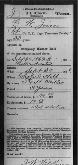George Washing Joyce (1813-1919) Civil War Record, Contributed by Marion Wortham Joyce