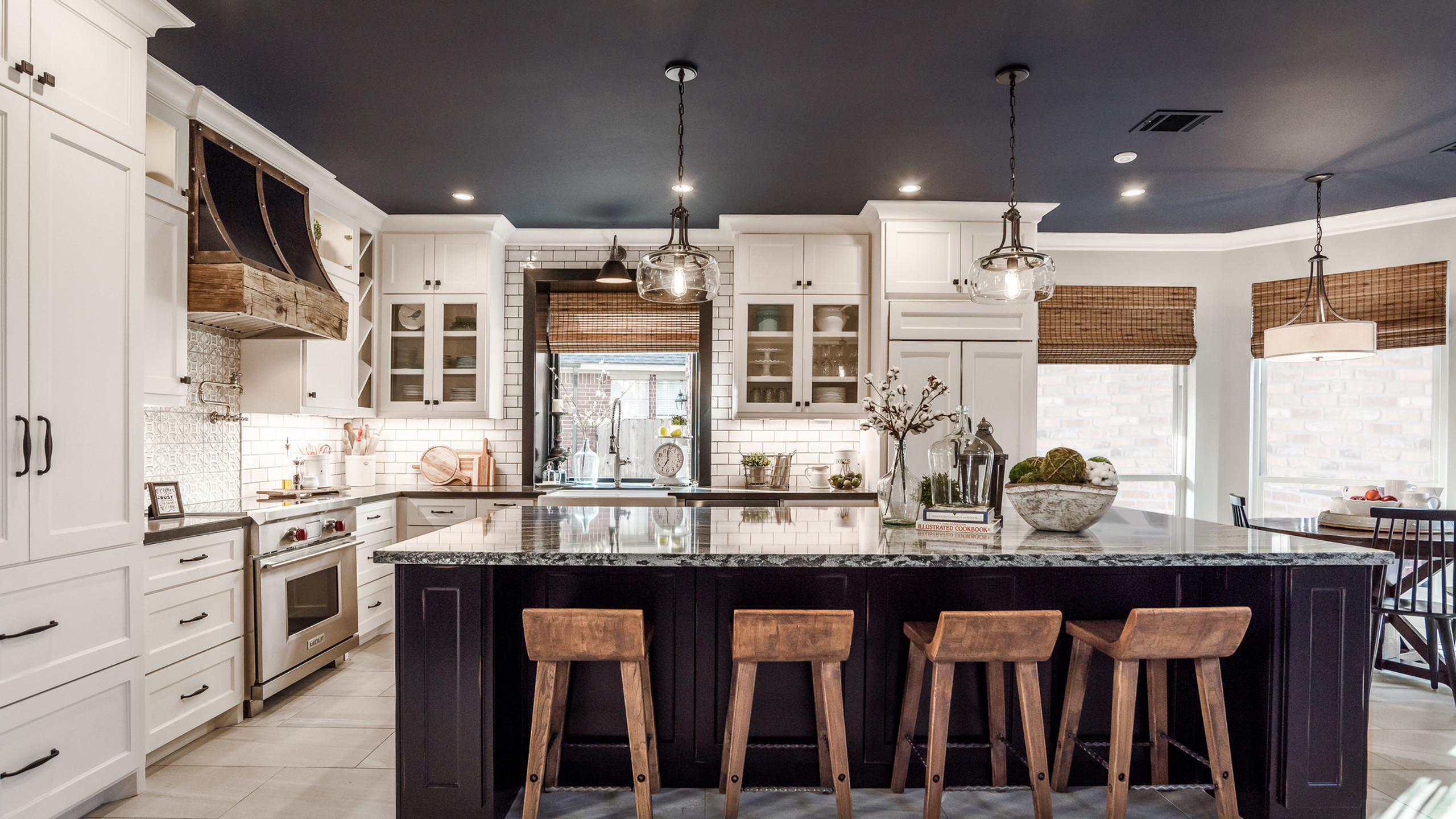 rustic modern kitchen with a bold navy ceiling