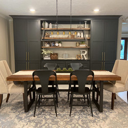 Dining room with custom built-in shelves