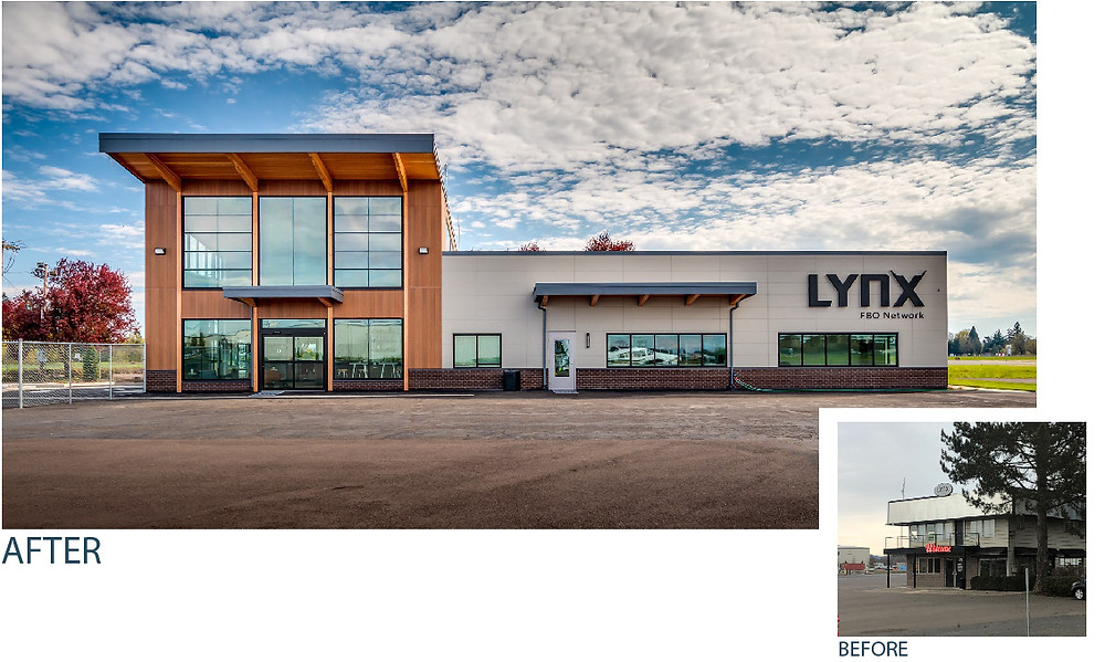 Before and after image of the Lynx FBO Network. Interior Designer Erika Barczak, Commercial Interior Design, Aurora, Oregon Design , Airport Design