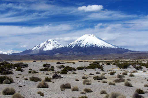 Parinacota and Pomerape mountains