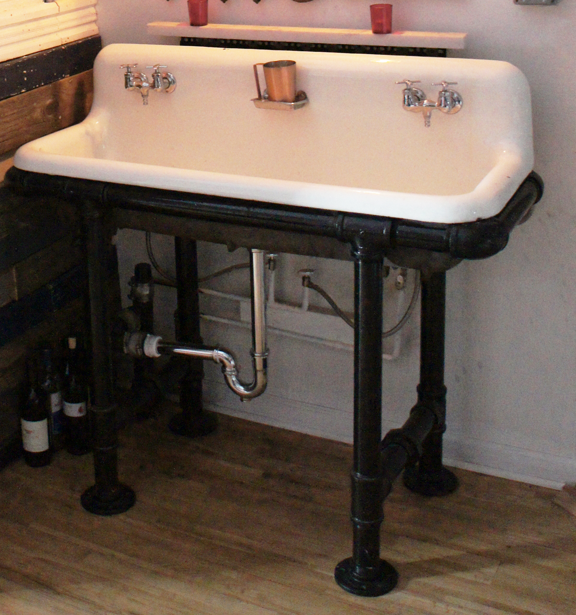 reclaimed sink custom black pipe base