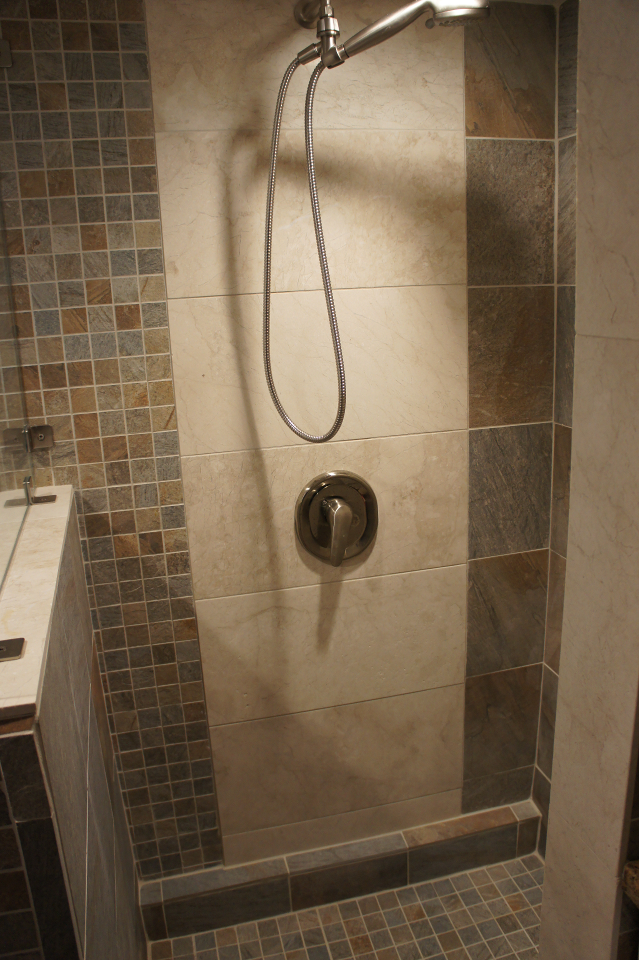 Earthy and Elegant Walk in shower