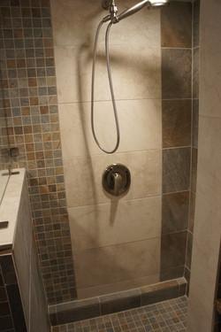Earthy and Elegant Walk in shower