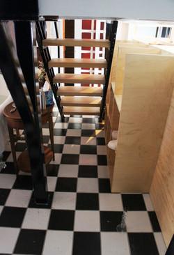 custom steel and poplar stairs, cubby storage