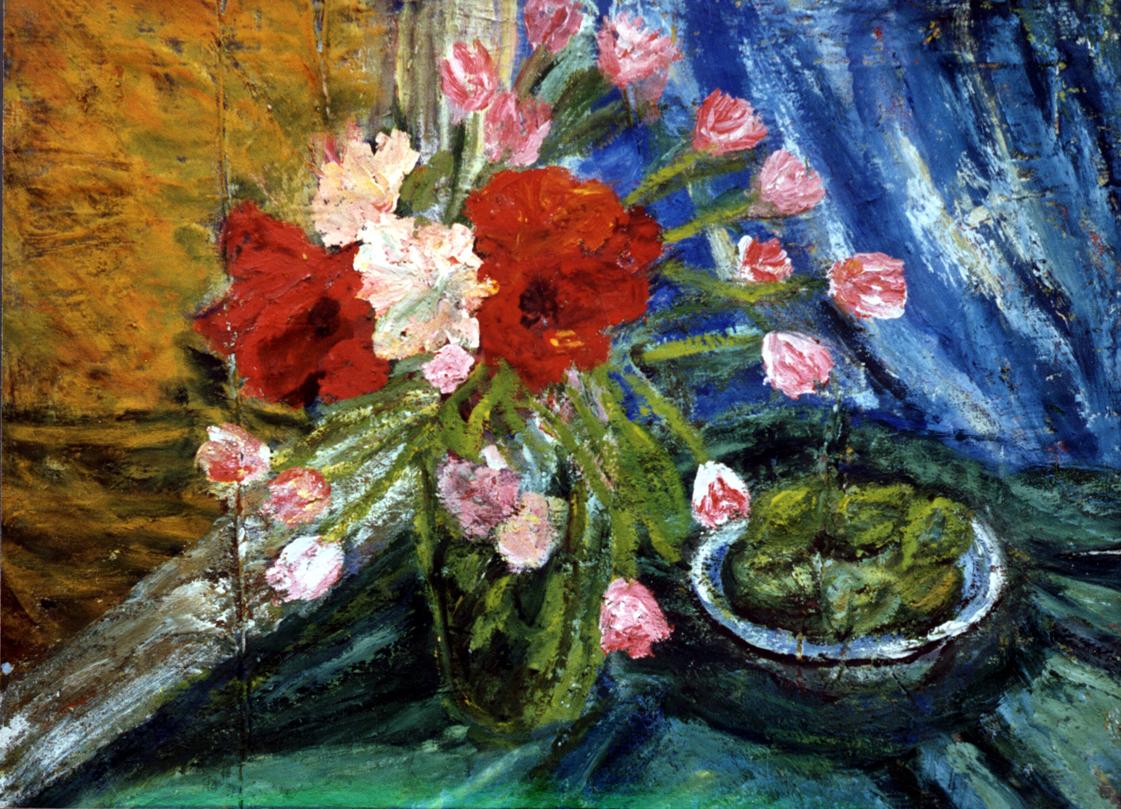 Amaryllis and pink tulips