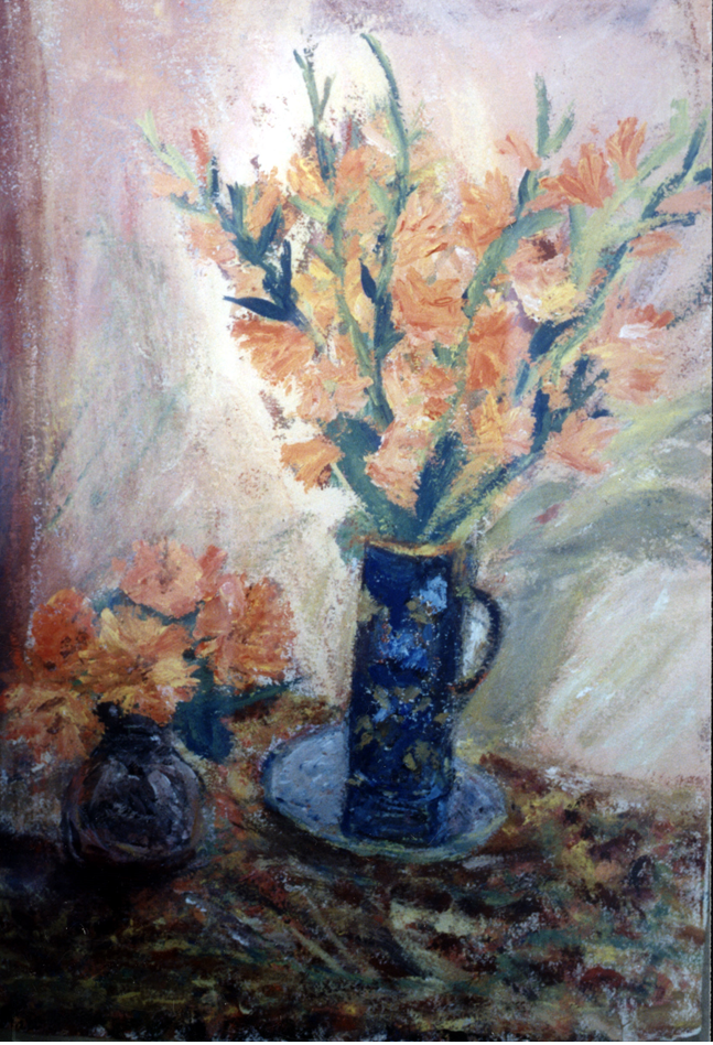 Gladioli and Dalhias in an Art Deco Vase