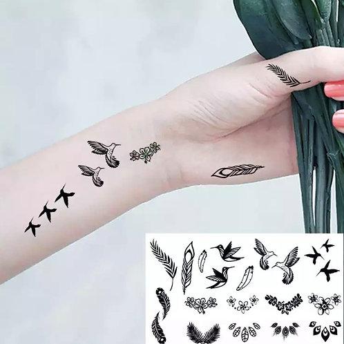 Kuşlar ve Çiçekler Geçici Dövme