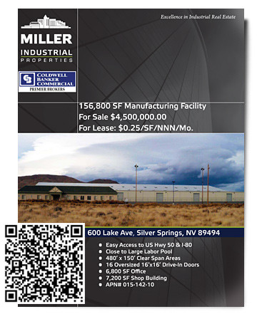 Silver Springs NV Manufacturing Facility for sale or lease