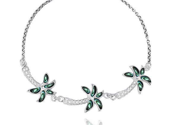 NB1463-ABL-WHCZ Sterling Silver Palm Trees with Abalone and White CZ