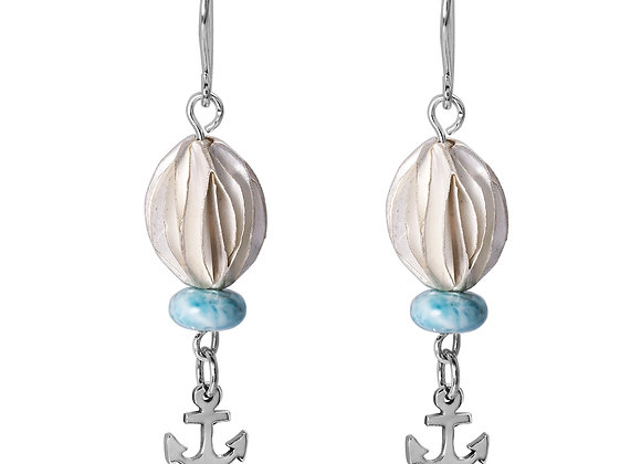 BOHO BEACH SILVER DANGLING EARRINGS WITH LARIMAR ABACUS BEADS , ANCHOR DESIGN