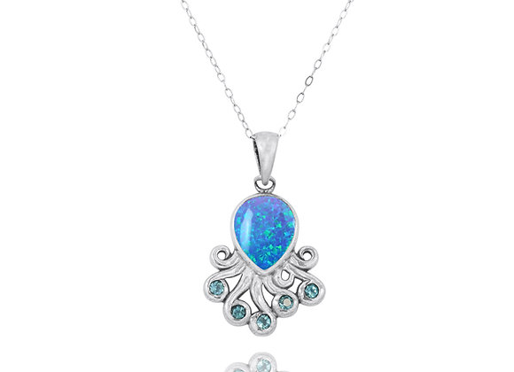 NP10494-BLOP - An Elegant Octopus Pendant with S Blue Opal and Blue Topaz