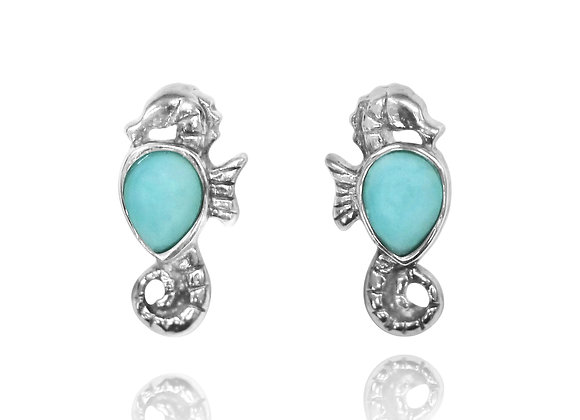 STERLING SILVER SEAHORSE STUD EARRINGS WITH PEAR SHAPE LARIMAR