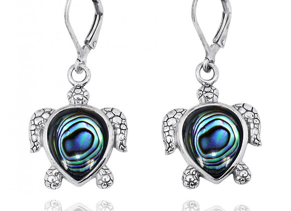STERLING SILVER TURTLE LEVER BACK EARRINGS WITH ABALON SHELL