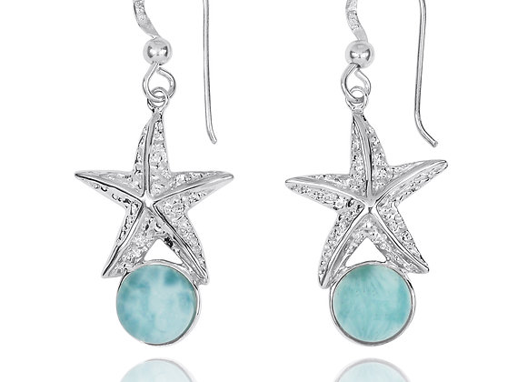 STERLING SILVER STARFISH FRENCH WIRE EARRINGS WITH ROUND LARIMAR