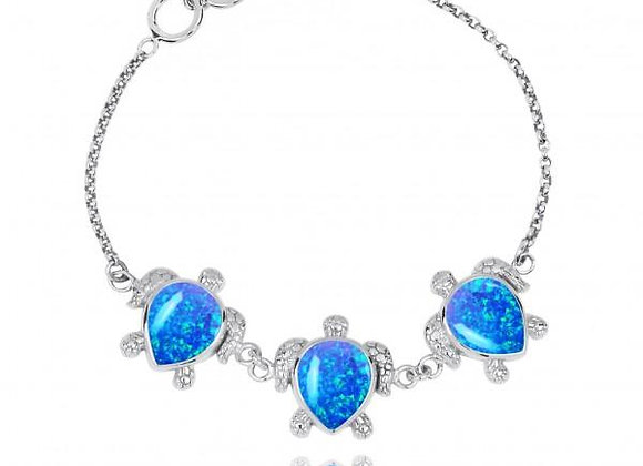 TRIPLE TURTLE WITH SIMULATED BLUE OPAL STERLING SILVER BRACELET