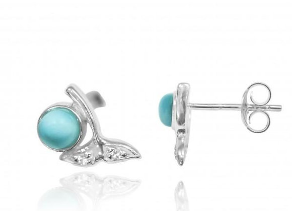 STERLING SILVER WHALE TAIL STUD EARRINGS WITH ROUND LARIMAR AND WHITE TOPAZ