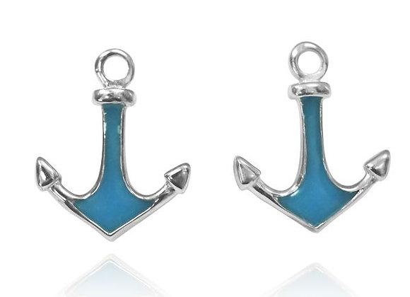 NES3723-RESIN - Junior Earrings , Anchor Design with Blue Resin