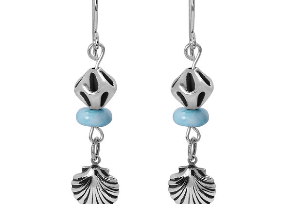 CLASSIC BOHO BEACH SILVER SEASHELL DESIGN DANGLING EARRINGS WITH LARIMAR ABACUS