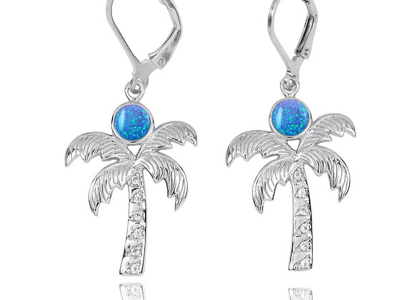 NEA3320-BLOP -Elegant Palm Tree Earring with synthetic blue opal and white topaz