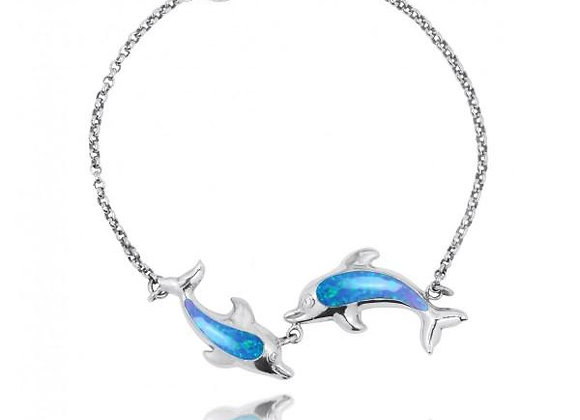 PLAYING DOLPHINS WITH SIMULATED BLUE OPAL BRACELET
