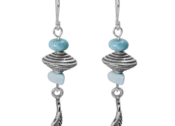 BOHO BEACH SILVER DANGLING EARRINGS WITH LARIMAR ABACUS AND FREE SHAPE BEADS , F