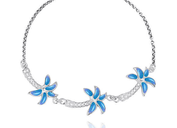 NB1463-BLOP-WHCZ Sterling Silver Palm Trees with S Blue Opal and White CZ