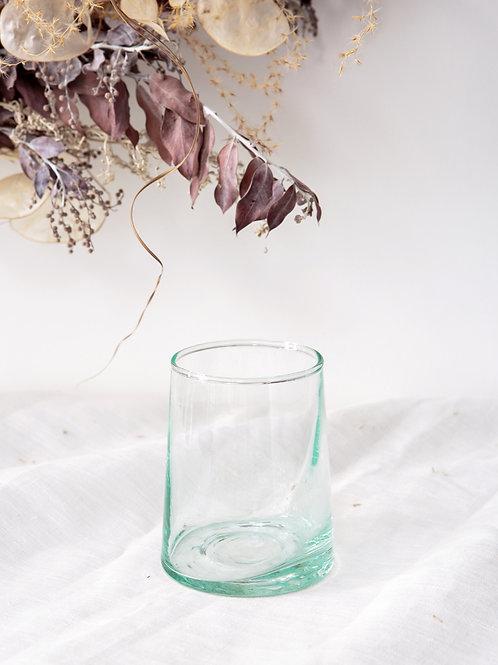 6 verres bas transparents en verre soufflé