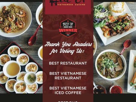 Hue Oi wins Best Restaurant, Best Vietnamese Restaurant, Best Vietnamese Iced Coffee and Best Pho!