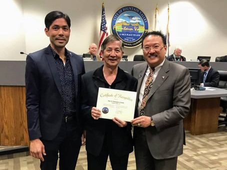 Certificate of Recognition from Mayor Michael Vo & Fountain Valley City Council members