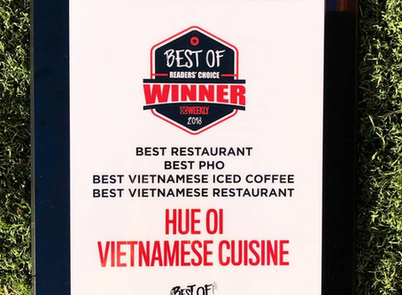 Thanks OC Weekly Readers for Honoring HUE OI with 4 Food & Drink Awards! 🙏🎉🎊