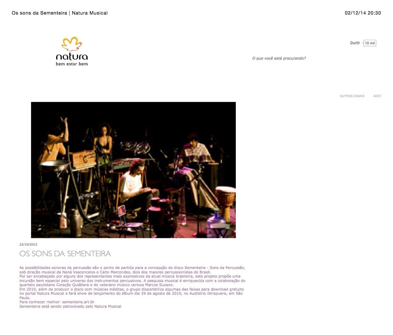 Os sons da Sementeira | Natura Musical Léo Nascimento