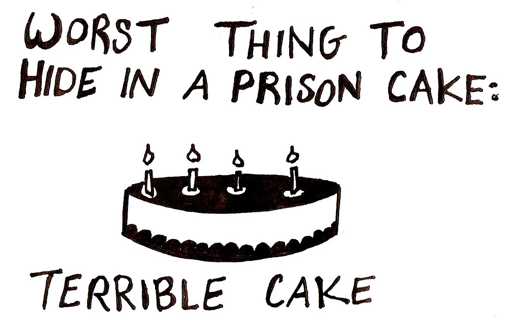 """""""Worst Thing to Hide in Prison Cake: Terrible Cake"""""""