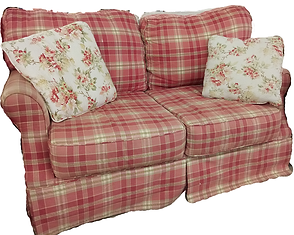 pink plaid loveseat with pillows $89.99.png