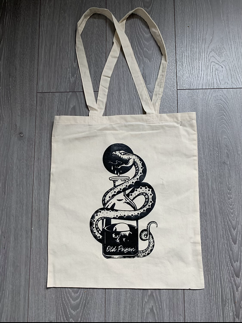 Old Poison hand screen printed shopping bag