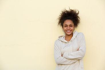 Young Black Woman in Sweatshirt