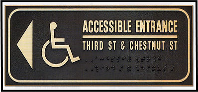Sample of Bronze ADA Compliant Handicapped Access Sign