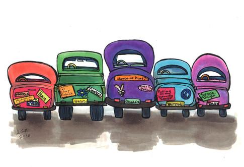 Contra Parking Lot - 5 Cars Print