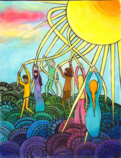 Colored May Pole Sun Dance
