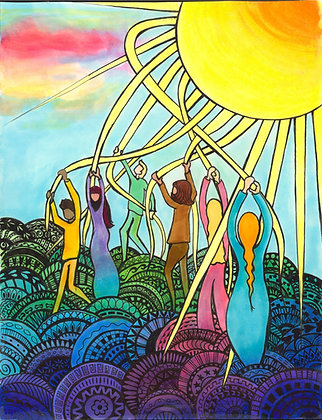 Colored May Pole Sun Dance