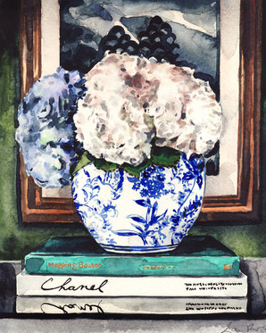 Hydrangeas in Blue and White Chinese Vase - Styled Vignette by Laura Row