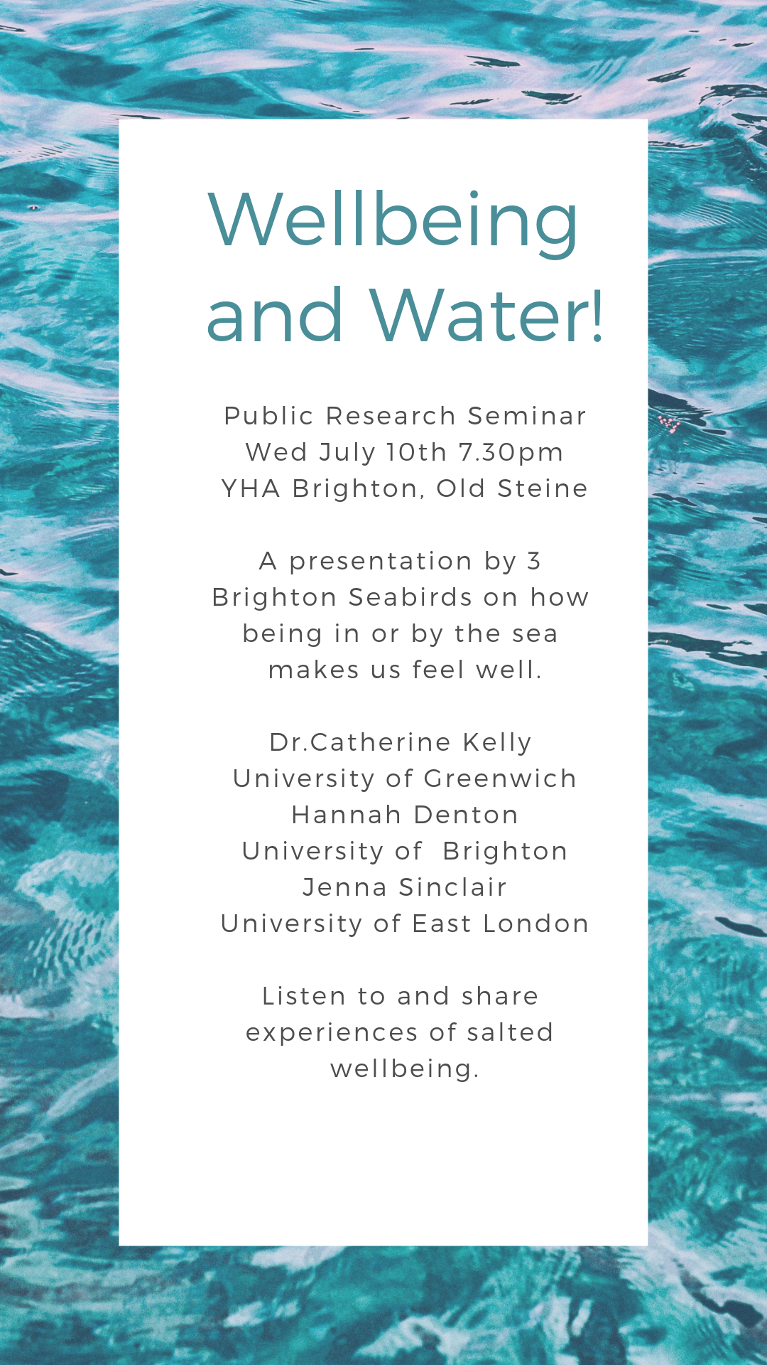 Wellbeing and Water - Public Research Seminar