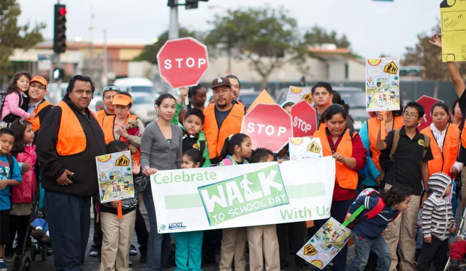 Community advocating for safe routes, so that kids can walk to school.