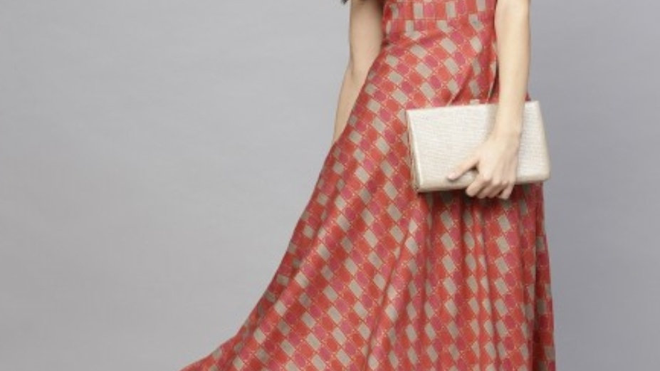 Brick red and beige sleevless flared Maxi