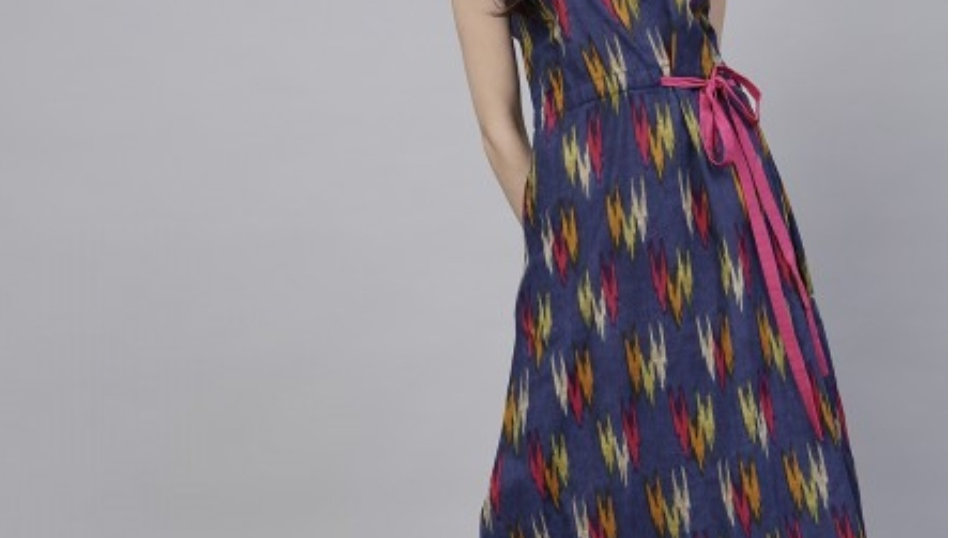Navy Blue Ikkat print A-Line Dress