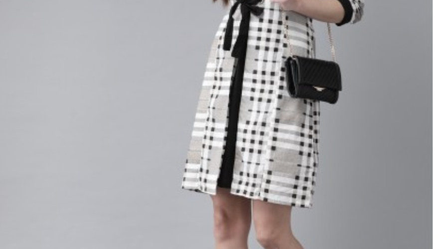White & Black layered A-Line dress