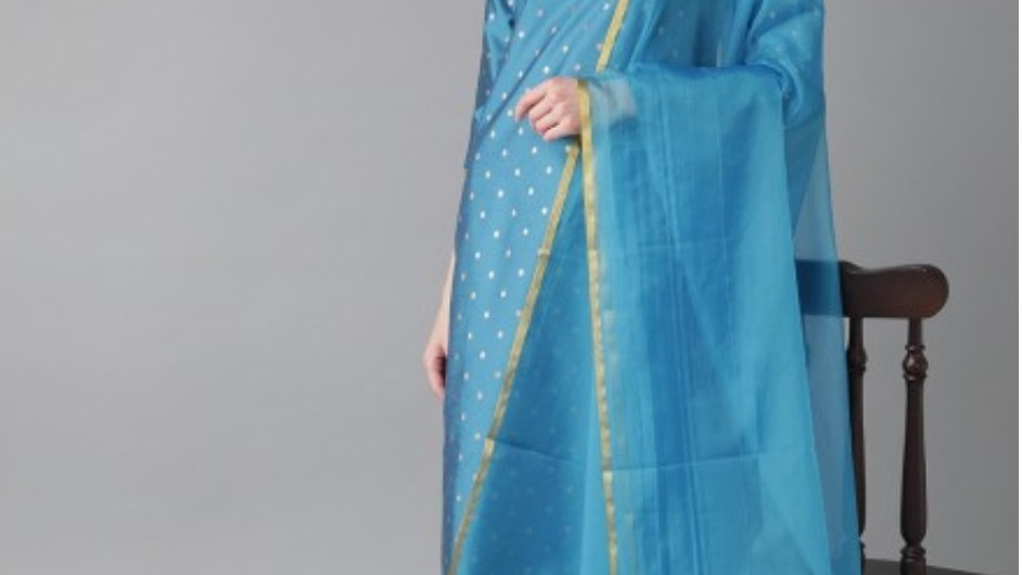 Blue & Golden Kurta set with Dupatta