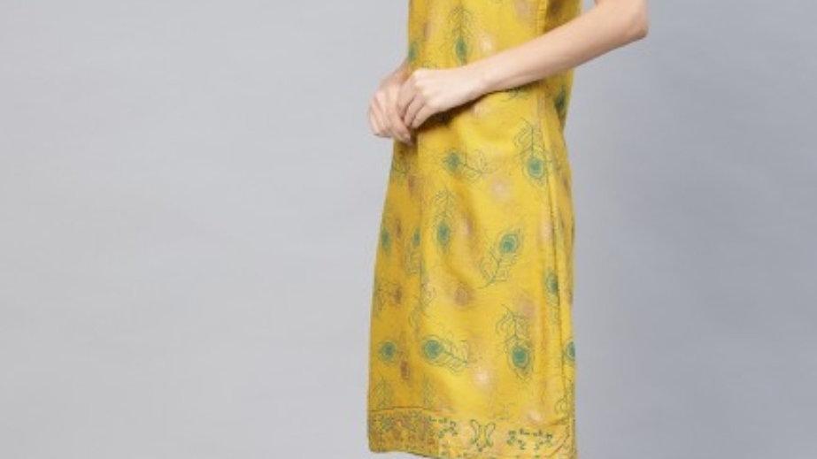 Yellow Gold printed shift dress