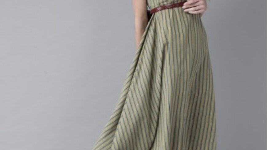 Green & yellow stripped Maxi dress